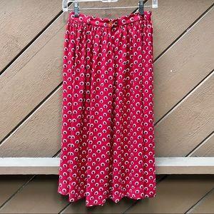 Vintage 70s/80s Red Floral Boho Midi Skirt